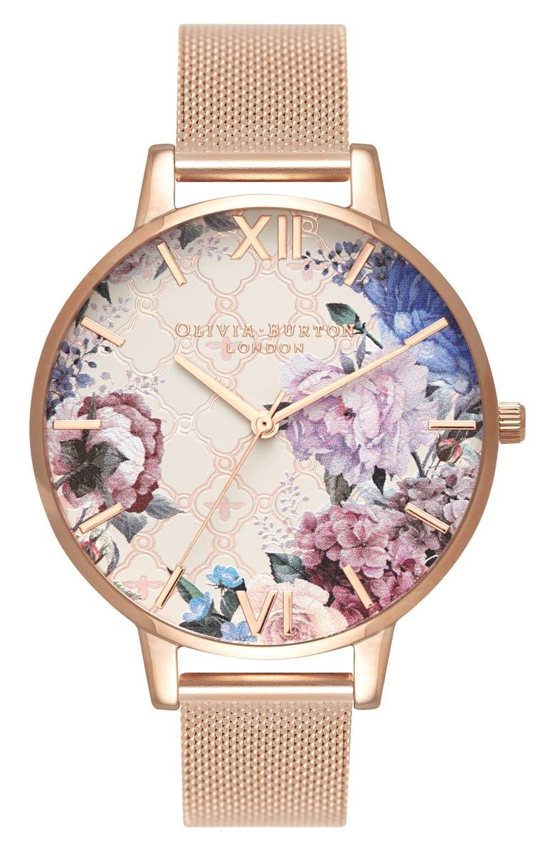 OLIVIA BURTON Glasshouse Mesh Strap Watch, 38mm, Main, color, ROSE GOLD/ FLORAL/ ROSE GOLD