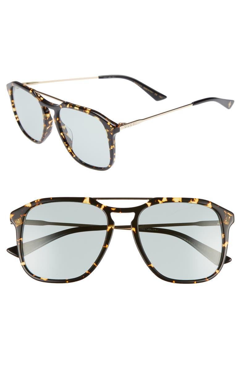GUCCI Light Combi 55mm Aviator Sunglasses, Main, color, GOLD/ BLACK