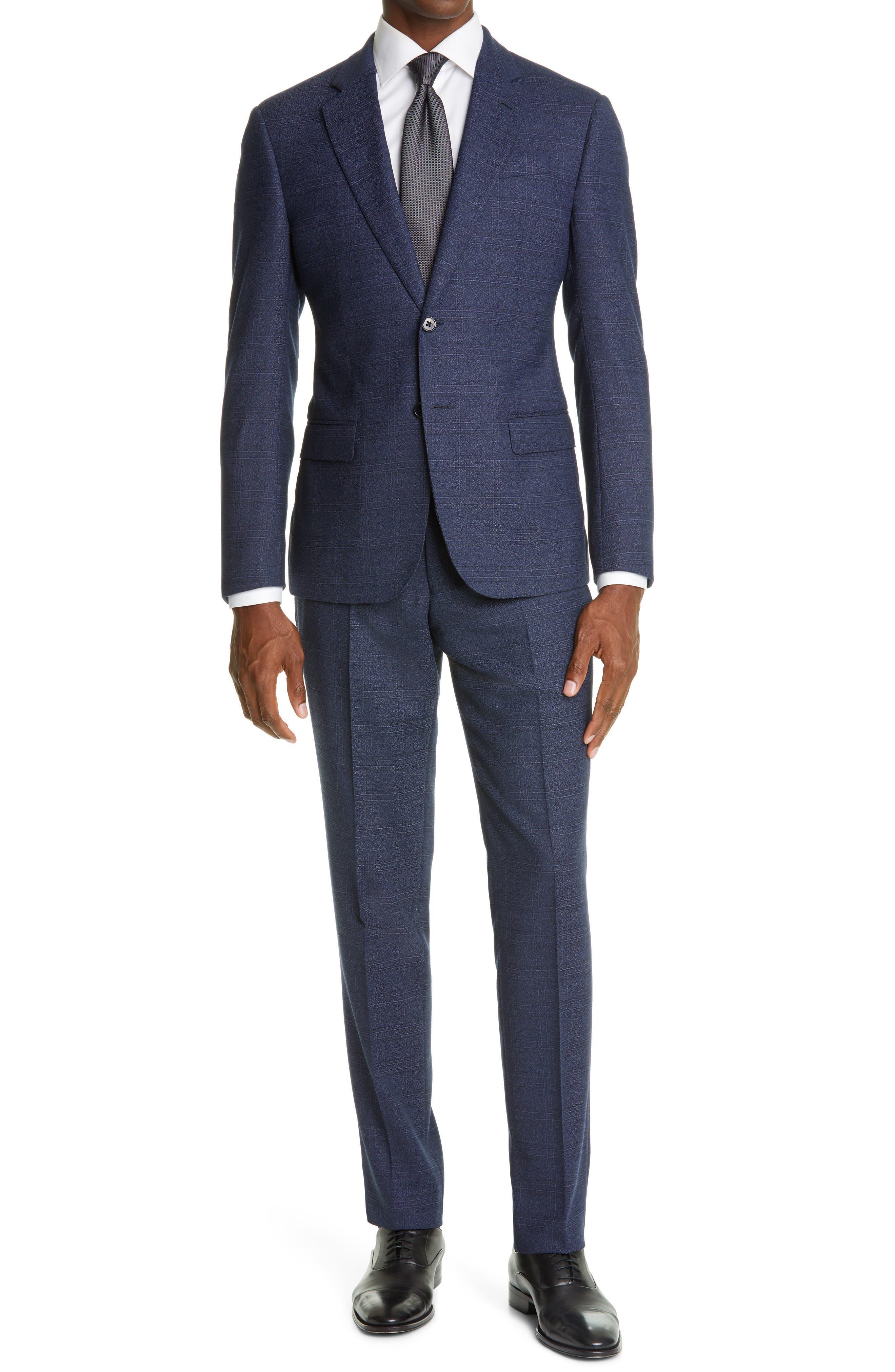 Image of Emporio Armani Slim Fit Plaid Suit