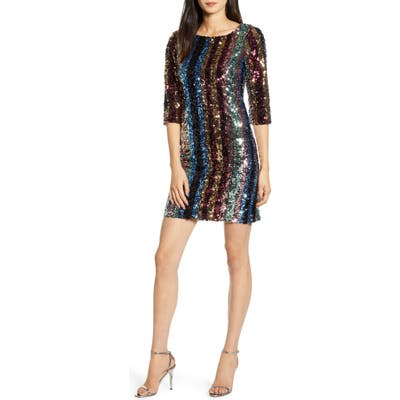 Cupcakes And Cashmere Virginia Multi Stripe Sequin Minidress, Red