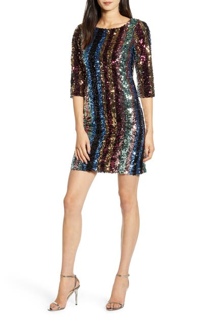 Cupcakes And Cashmere Dresses VIRGINIA MULTI STRIPE SEQUIN MINIDRESS