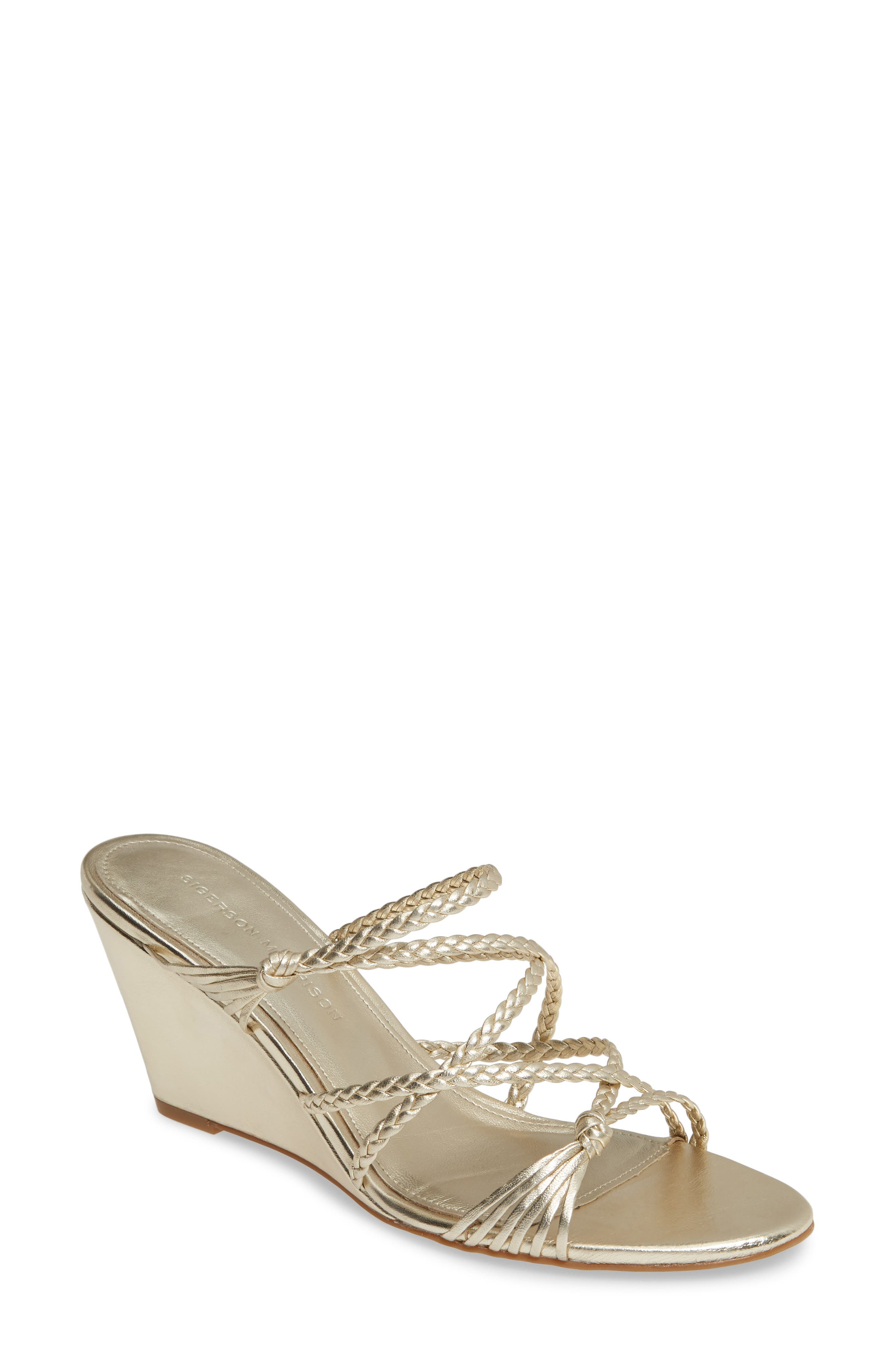 Sigerson Morrison Maddie Braided Strap Wedge Sandal, Metallic