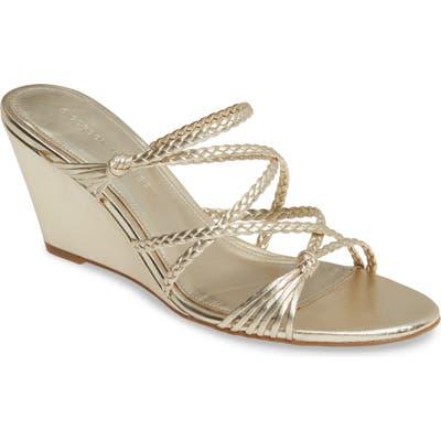 Sigerson Morrison Maddie Braided Strap Wedge Sandal EU - Metallic