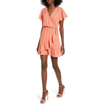 All In Favor Flutter Sleeve Faux Wrap Dress, Coral