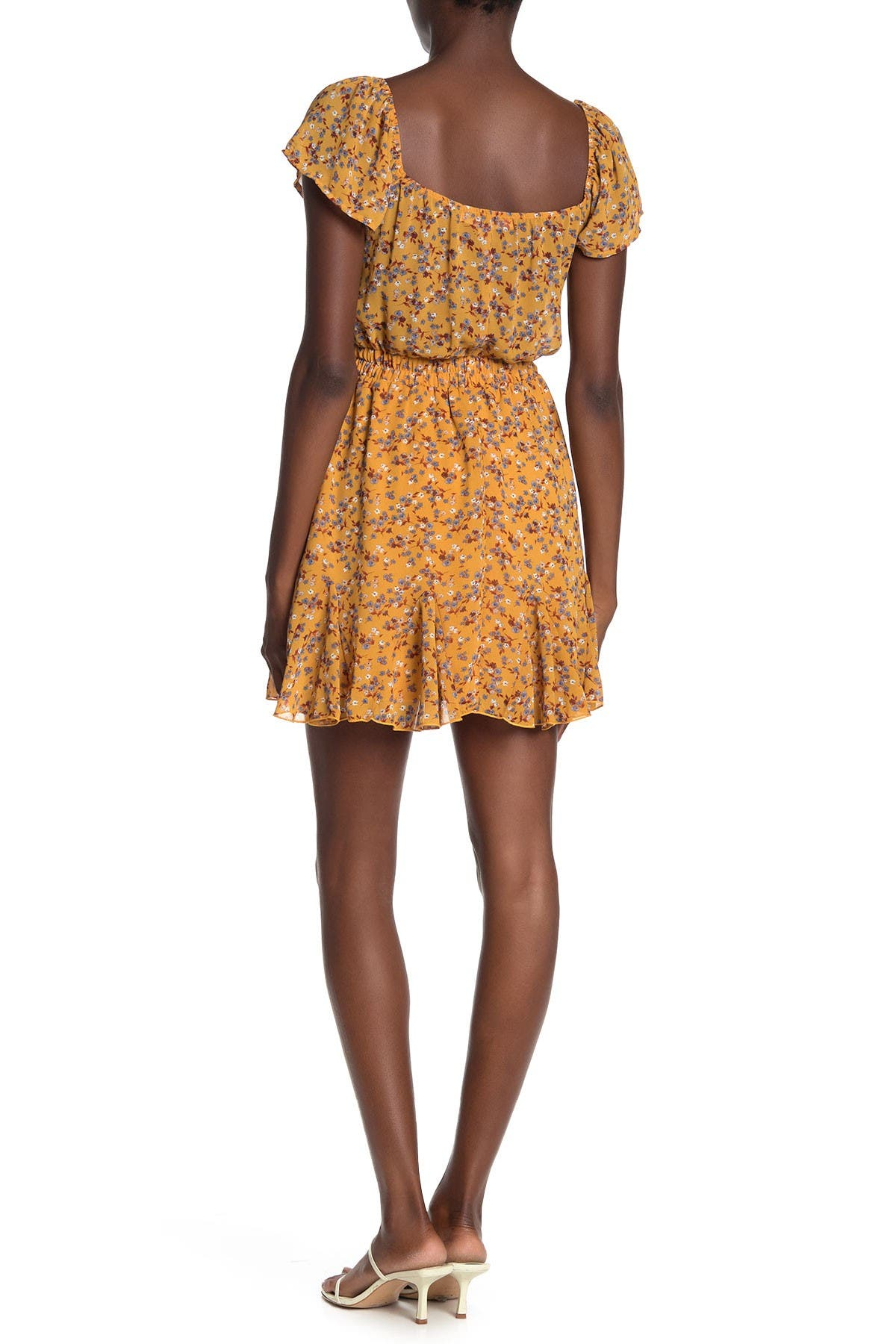 Image of ROW A Floral Flutter Sleeve Mini Dress