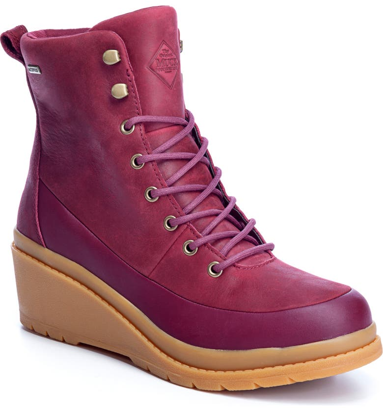THE ORIGINAL MUCK BOOT COMPANY Liberty Waterproof Wedge Boot, Main, color, BURGUNDY LEATHER