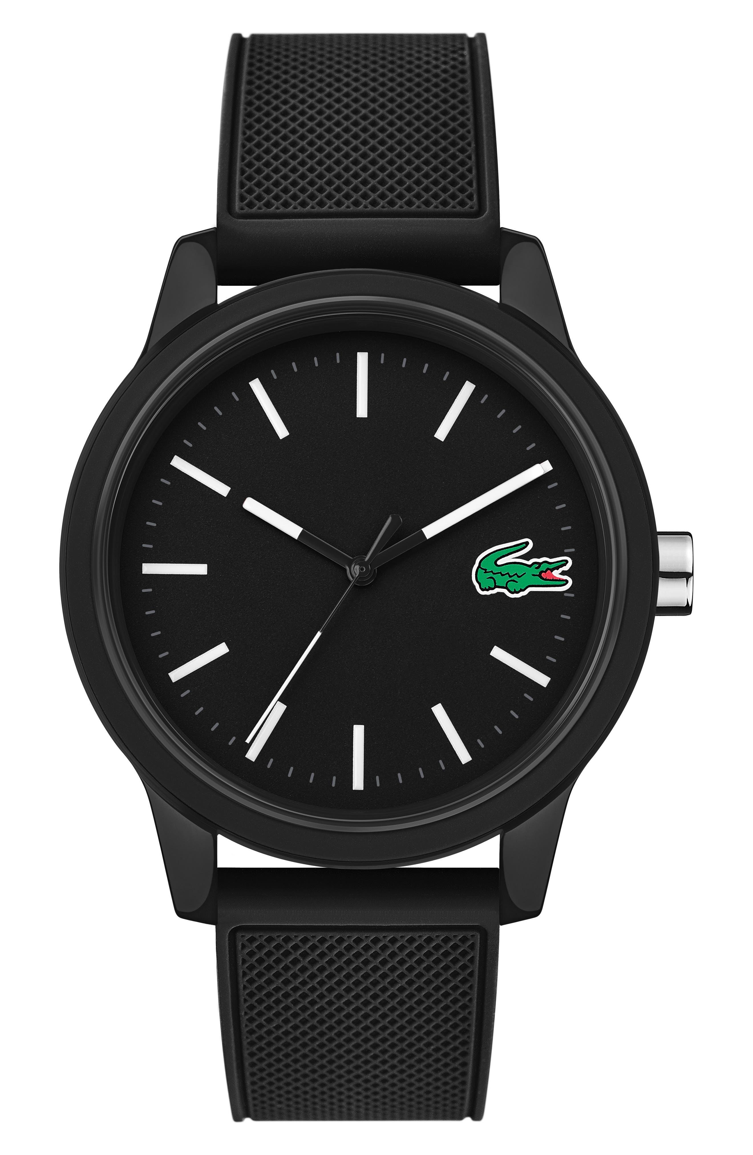 ,                             12.12 Rubber Strap Watch, 42mm,                             Main thumbnail 1, color,                             BLACK