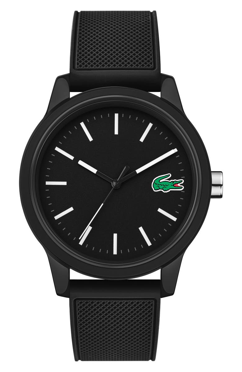 LACOSTE 12.12 Rubber Strap Watch, 42mm, Main, color, 001
