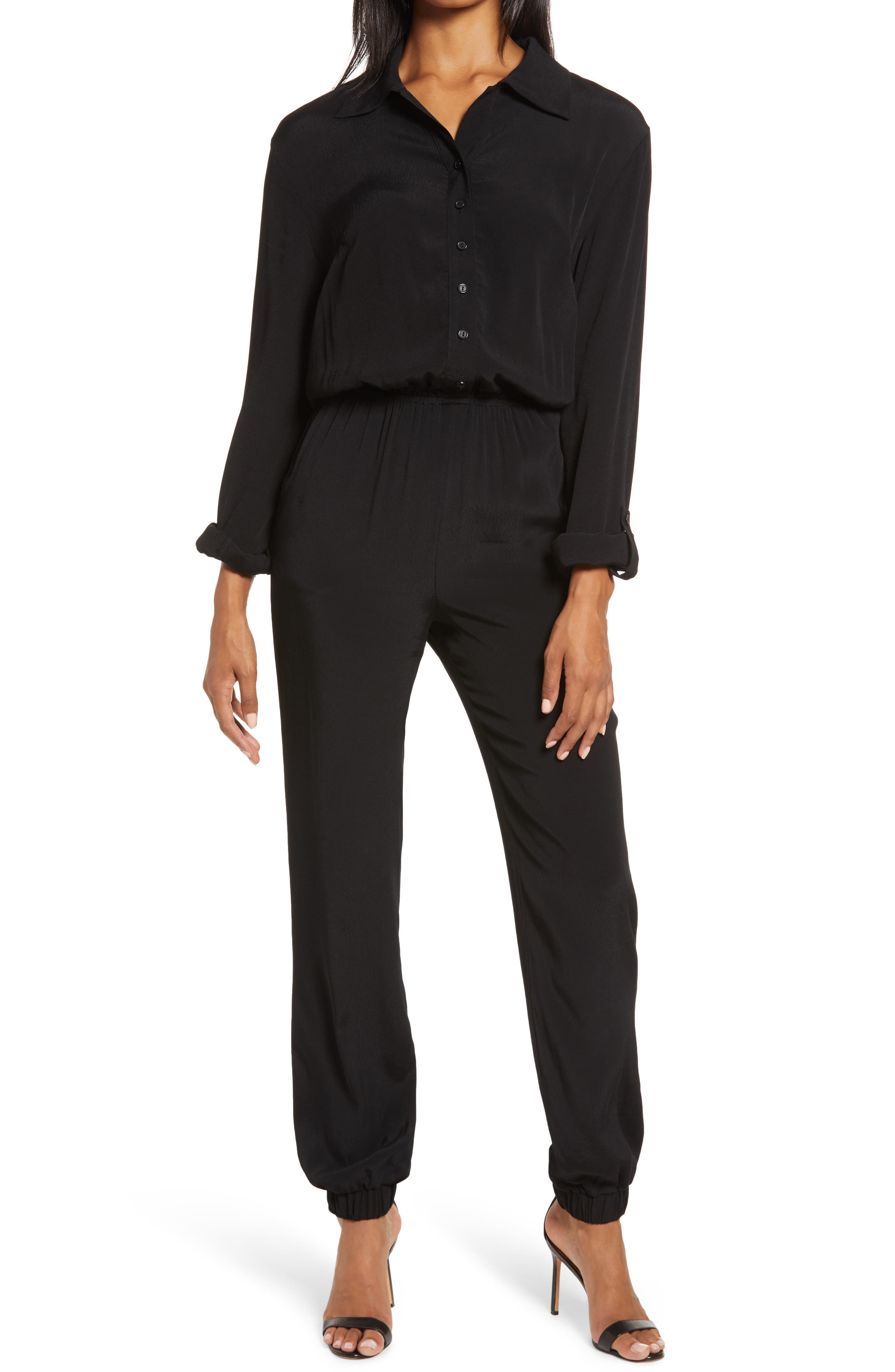 Fraiche by J Long Sleeve Button Front Jumpsuit | Nordstrom