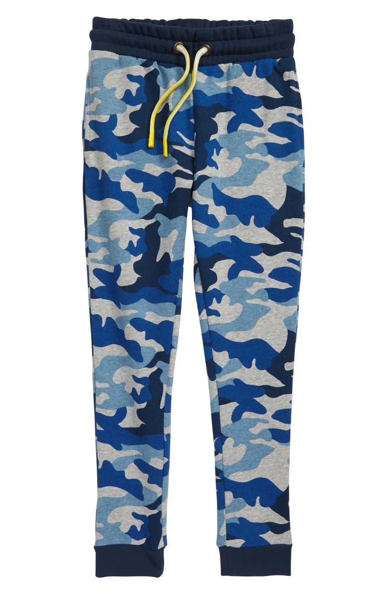 MINI BODEN Everyday Camo Fleece Jogger Pants, Main, color, GREY MARL/ BLUE CAMO