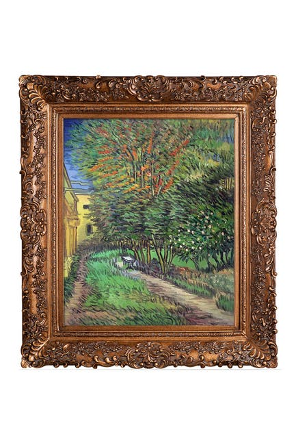 Image of Overstock Art Asylum and Garden by Vincent Van Gogh Framed Hand Painted Oil Reproduction