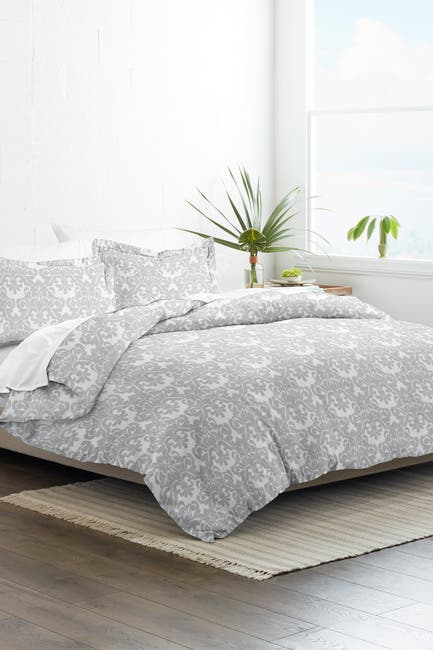 Image of IENJOY HOME Home Collection Premium Ultra Soft Soft Damask Pattern 3-Piece King/California King Duvet Cover Set - Light Gray