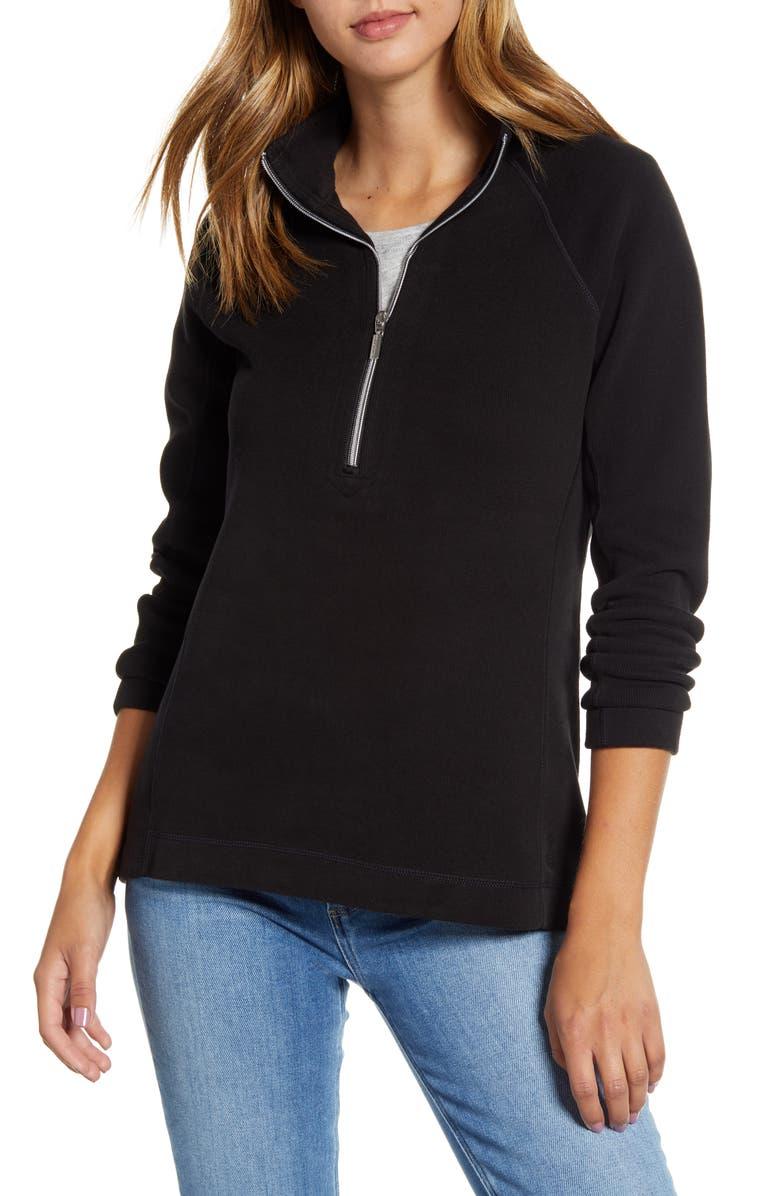 TOMMY BAHAMA New Aruba Half Zip Pullover, Main, color, BLACK