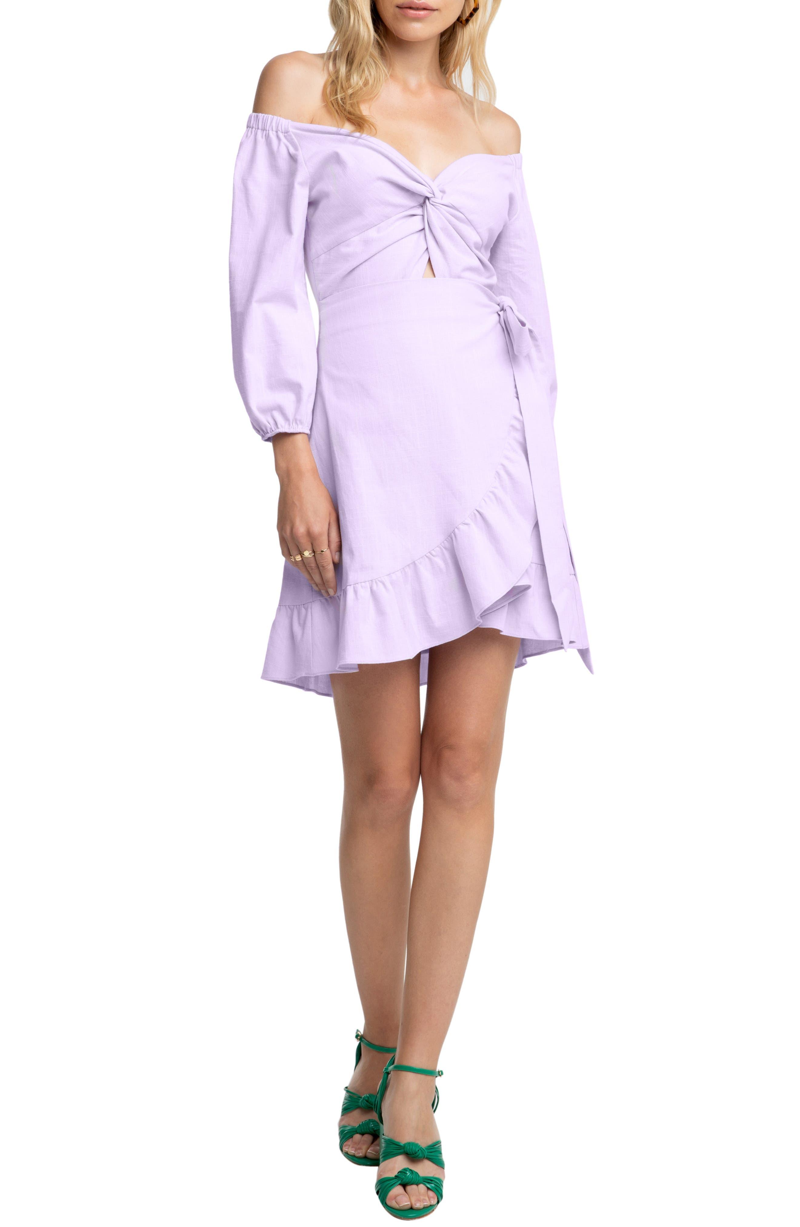 Astr The Label Aubrey Off The Shoulder Dress, Purple