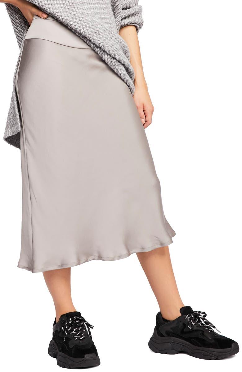 FREE PEOPLE Normani Bias Cut Satin Skirt, Main, color, LIGHT GREY