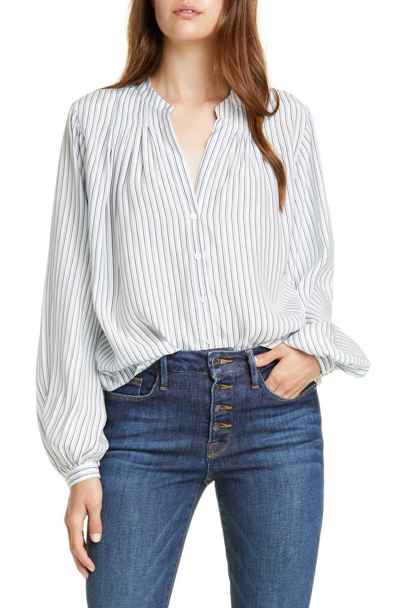 FRAME Pleated Stripe Silk Blouse, Main, color, POWDER MULTI