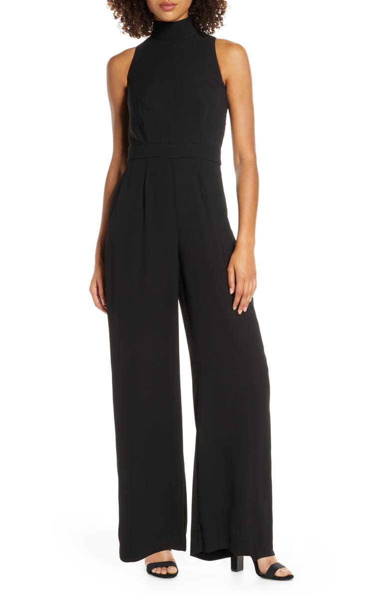 CHELSEA28 Sleeveless Mock Neck Jumpsuit, Main, color, BLACK
