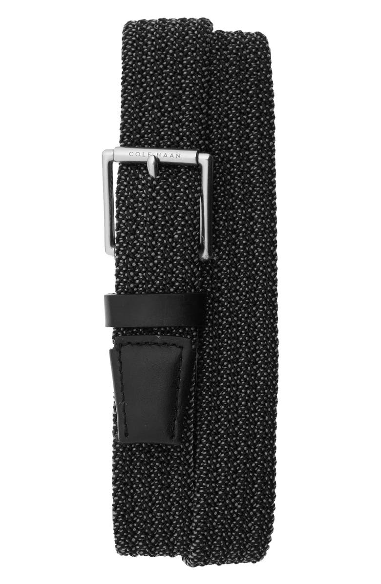 COLE HAAN Stretch Weave Belt, Main, color, BLACK/ TUMBLED NICKEL