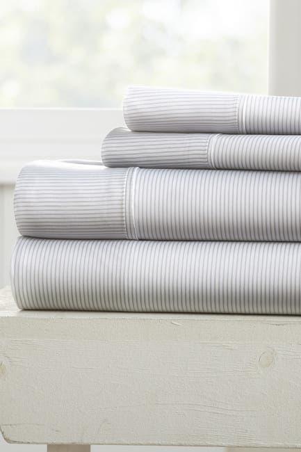 Image of IENJOY HOME Elegant Pinstriped Pattern 4-Piece Sheet Set - Light Gray - King