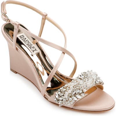 Badgley Mischka Clarisa Embellished Wedge Sandal- Pink