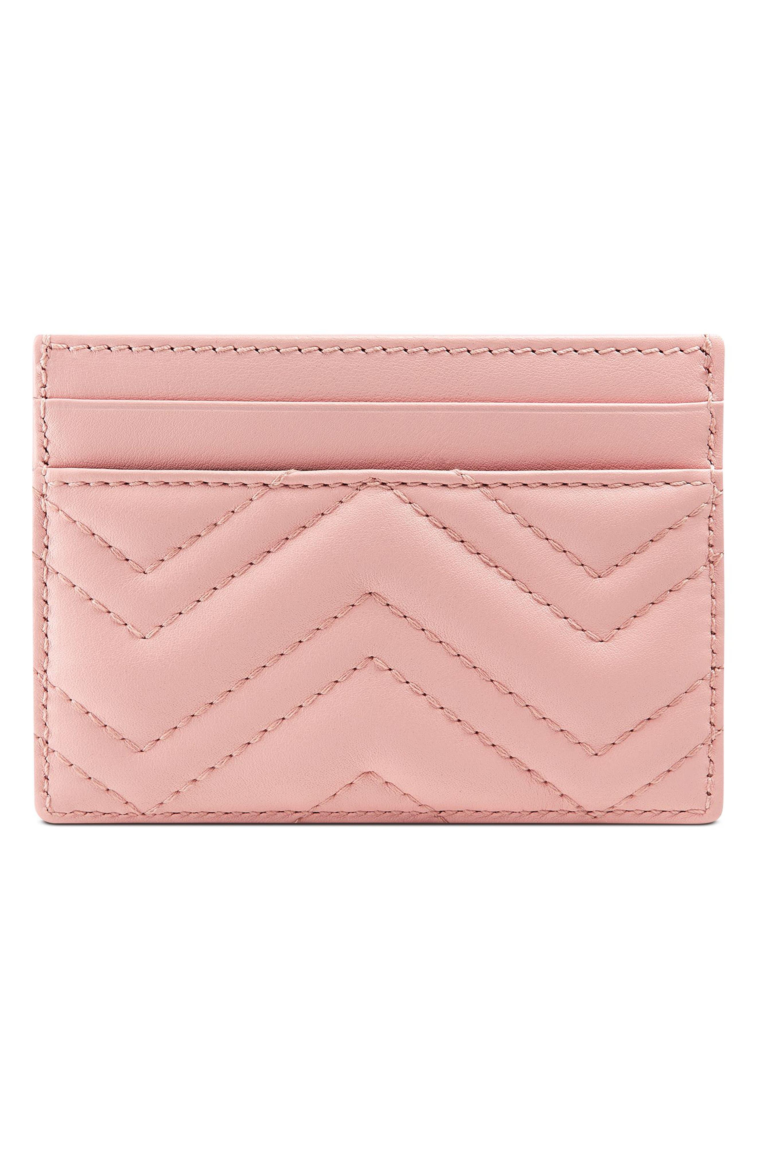 ,                             GG Marmont Matelassé Leather Card Case,                             Alternate thumbnail 3, color,                             PERFECT PINK