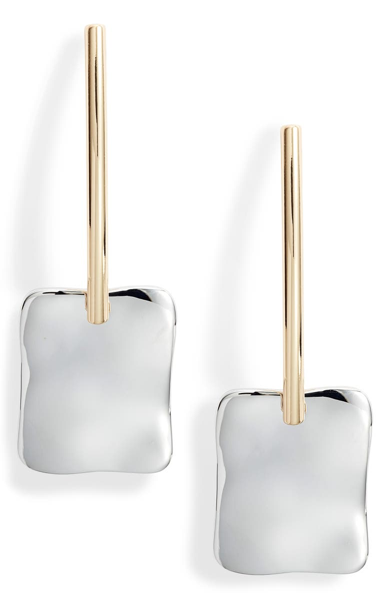 HALOGEN<SUP>®</SUP> Molten Linear Earrings, Main, color, RHODIUM- GOLD