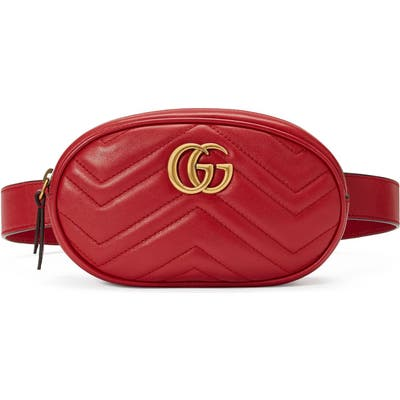 Gucci Matelasse Leather Belt Bag - Red