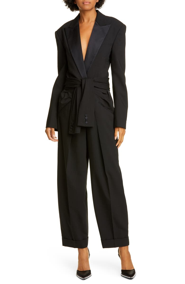 ALEXANDER WANG Tie Waist Tuxedo Jumpsuit, Main, color, 001