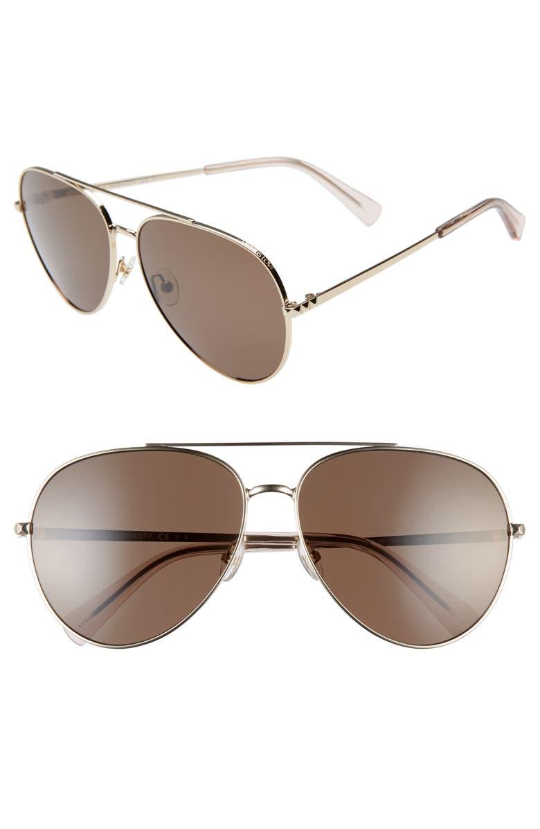 REBECCA MINKOFF Stevie 63mm Oversize Aviator Sunglasses, Main, color, 711