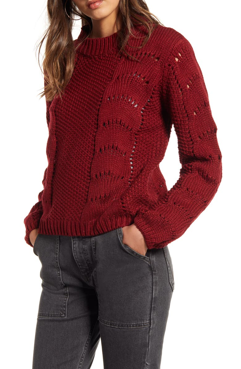WOVEN HEART Pointelle Sweater, Main, color, BURGUNDY