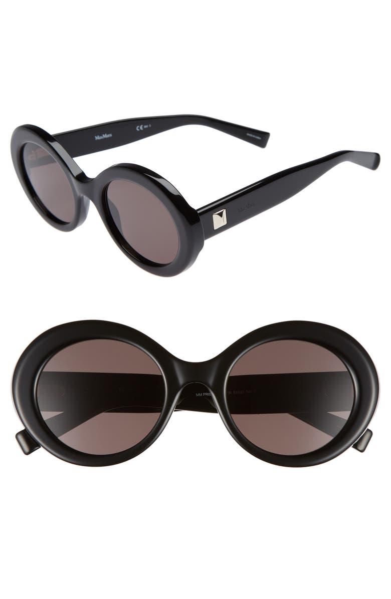 MAX MARA Prism VIII 51mm Oval Sunglasses, Main, color, 001