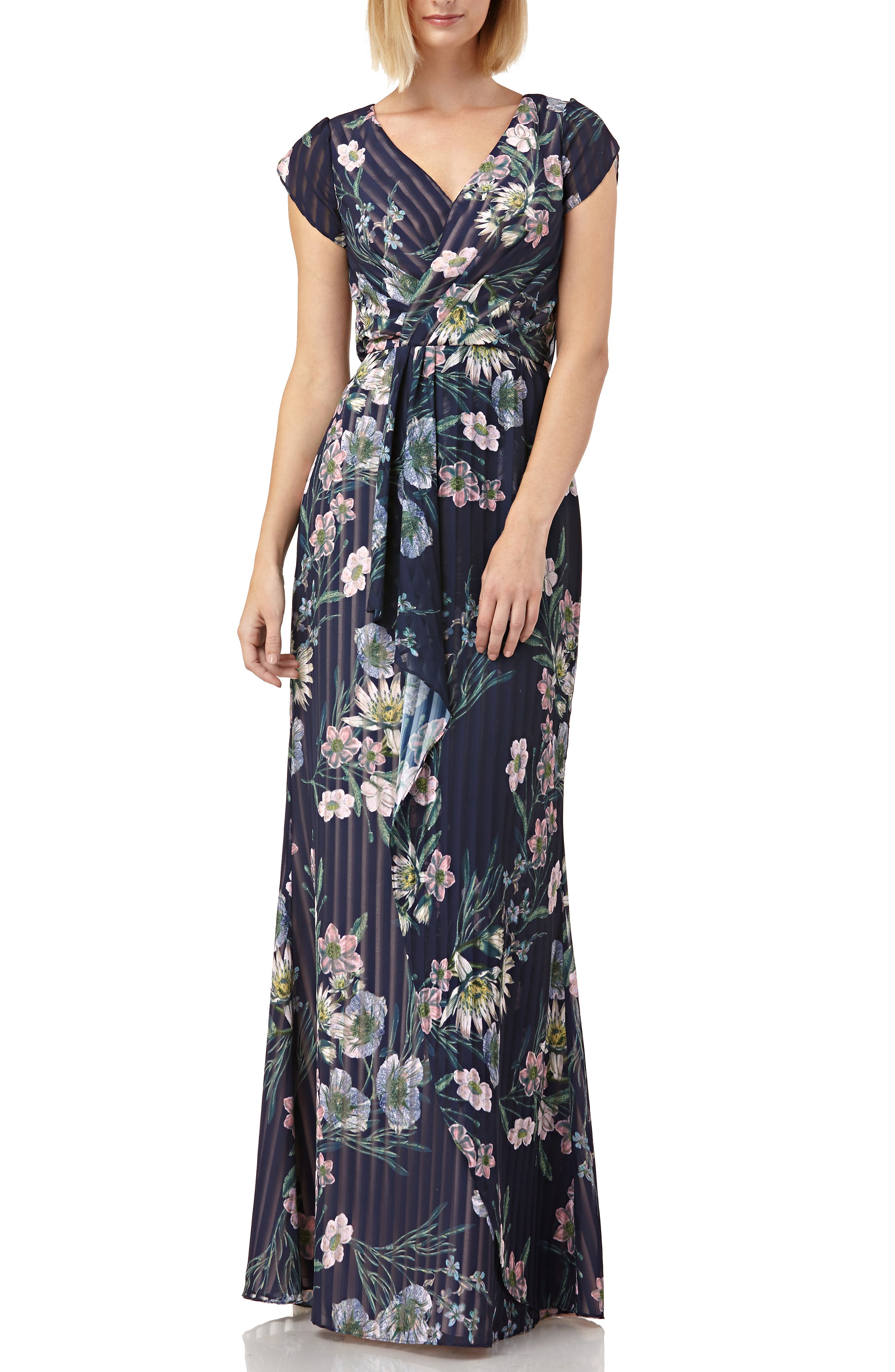 cfbcf698cc87c Kay Unger Floral Stripe Tulip Sleeve Chiffon Gown, Blue