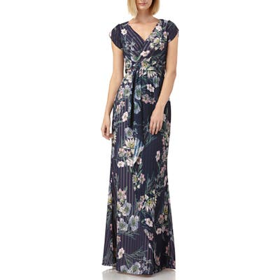 Kay Unger Floral Stripe Tulip Sleeve Chiffon Gown, Blue