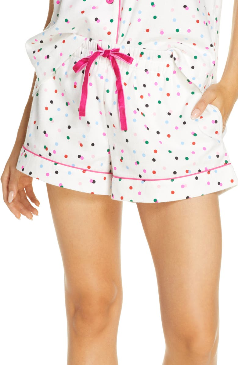 BAN.DO Party Dots Flannel Pajama Shorts, Main, color, IVORY