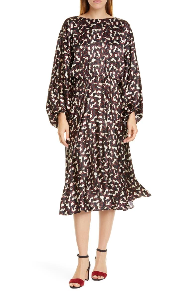SALONI Kim Silk Dress, Main, color, NOIR DAYBREAK