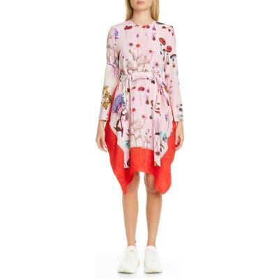 Stella Mccartney Kalyn Floral Handkerchief Hem Long Sleeve Silk Dress, 48 IT - Pink