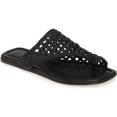 Agl Asymmetrical Woven Toe Loop Sandal - Black