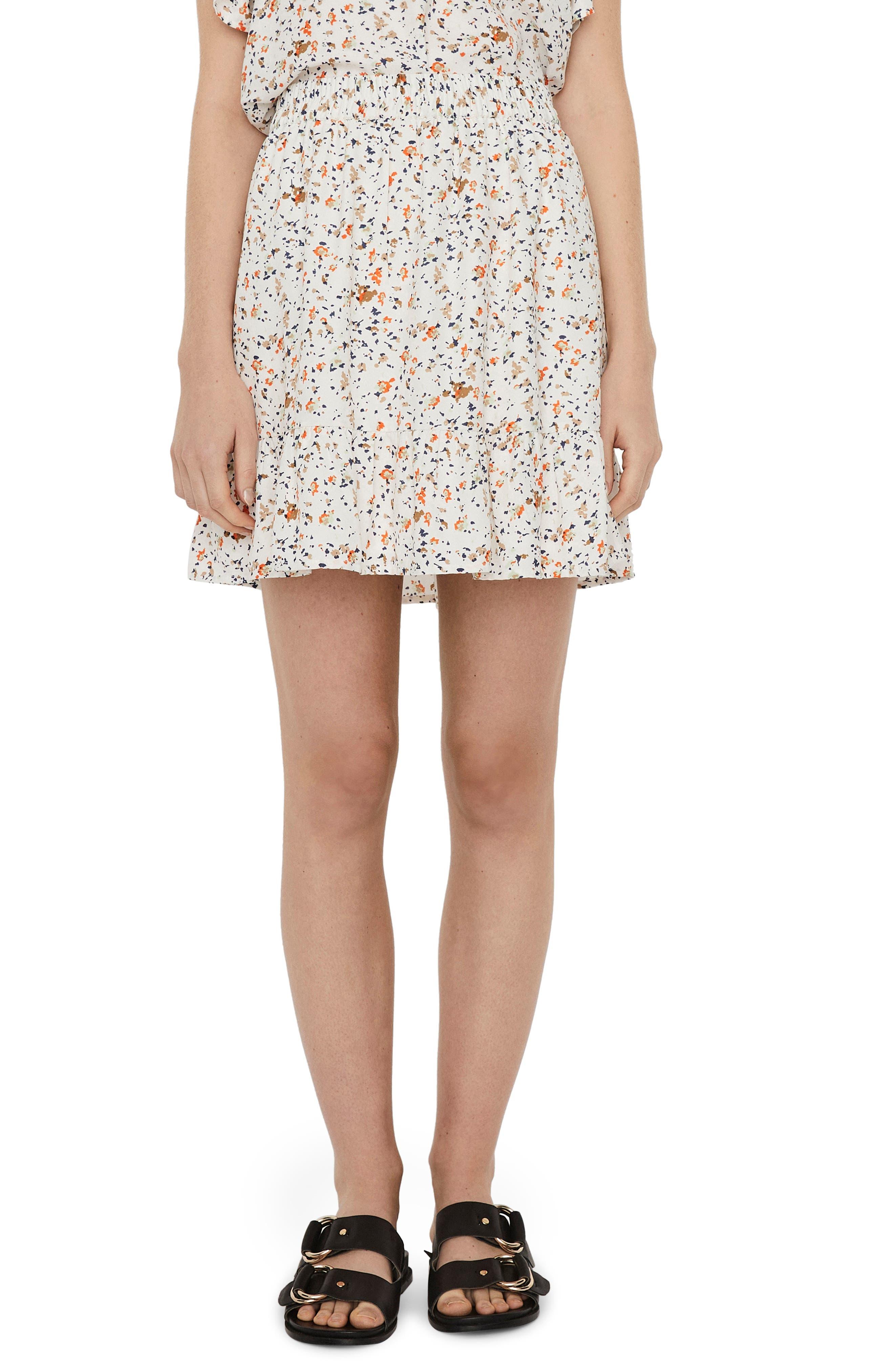Ora Print Ruffle Miniskirt