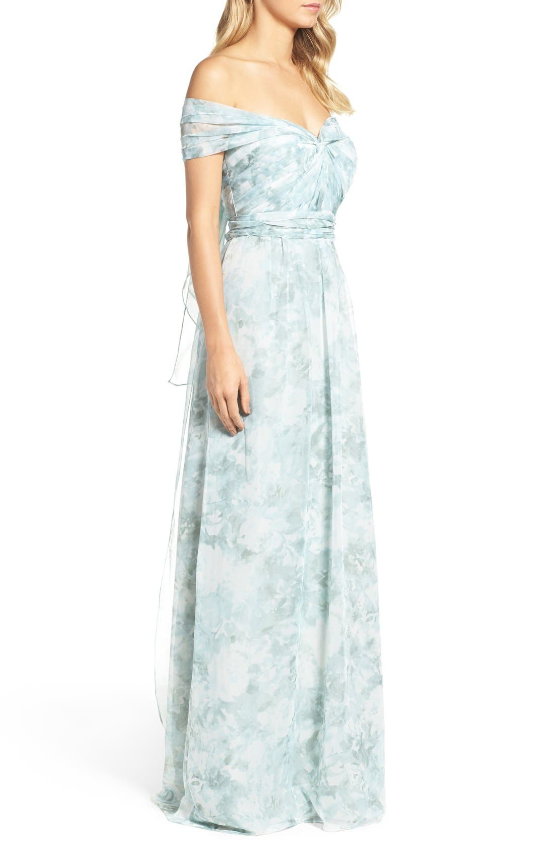 ,                             Nyla Floral Print Convertible Strapless Chiffon Gown,                             Alternate thumbnail 21, color,                             340