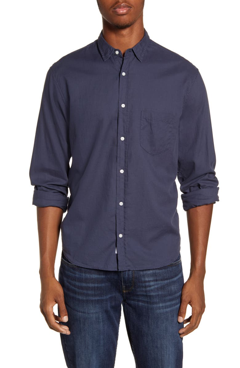 FRANK & EILEEN Don Regular Fit Solid Button-Up Sport Shirt, Main, color, NAVY