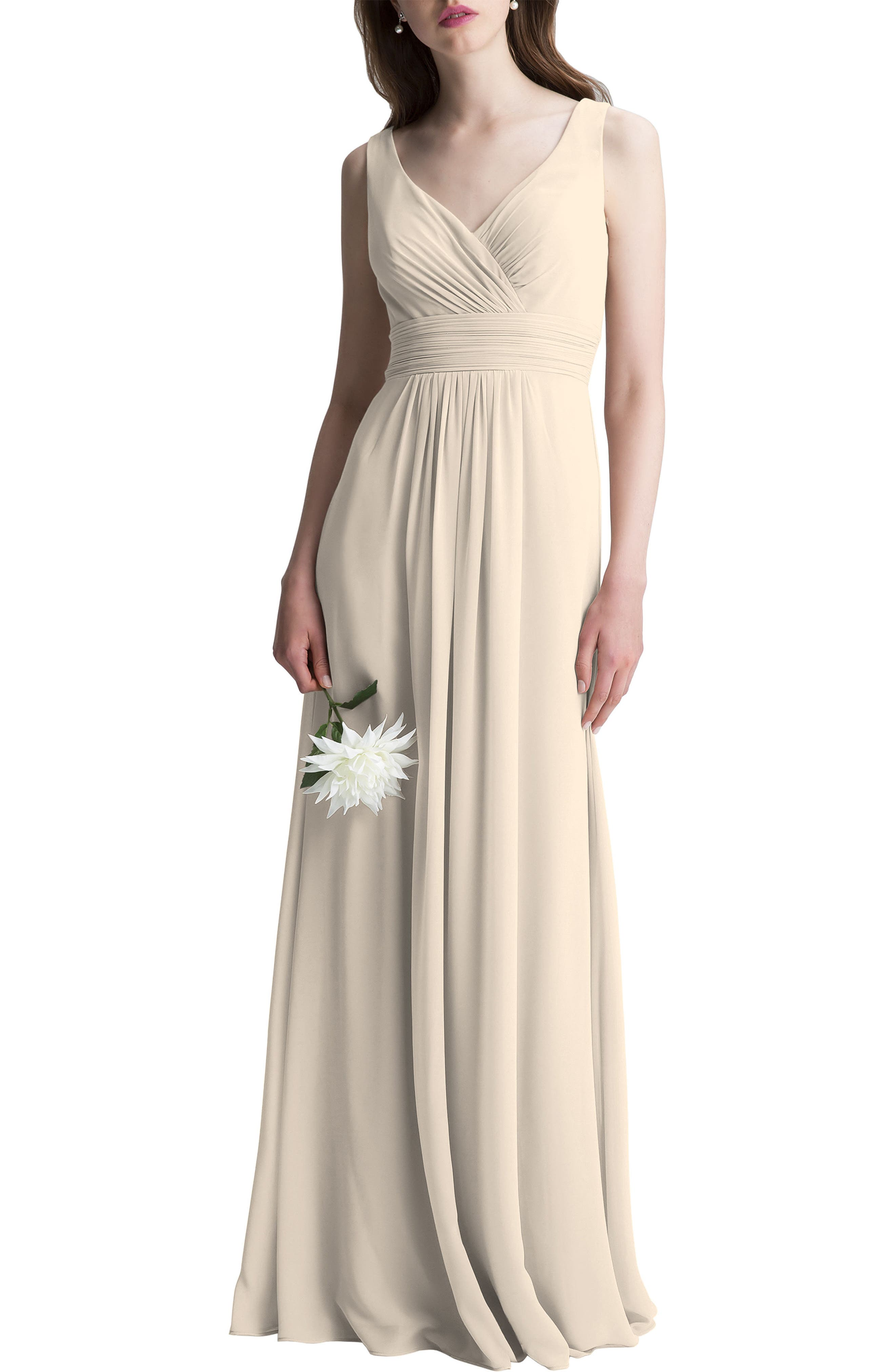 ,                             V-Neck Chiffon A-Line Gown,                             Main thumbnail 1, color,                             CHAMPAGNE