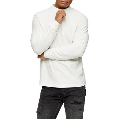 Topman Long Sleeve Pique Zip Polo, White