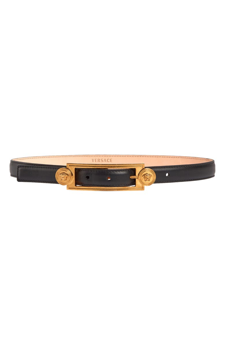 VERSACE FIRST LINE Medusa Medallion Leather Belt, Main, color, BLACK