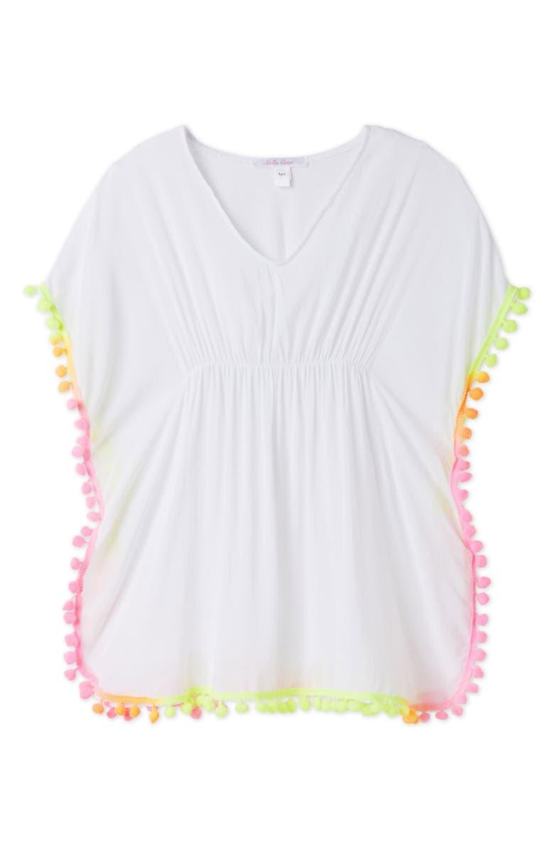 STELLA COVE Neon Pompom Cover-Up Poncho, Main, color, WHITE
