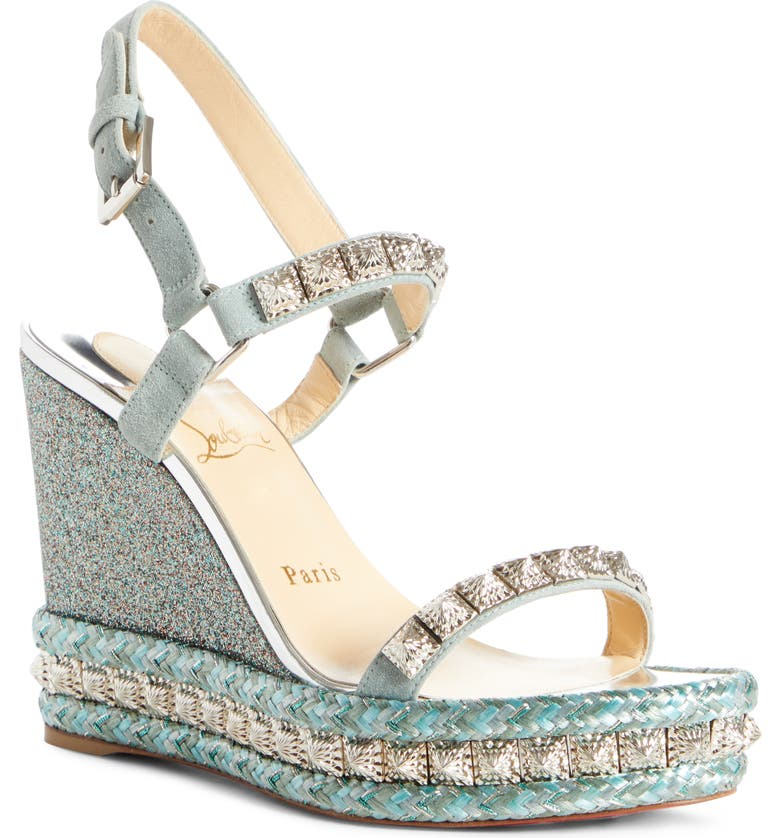 CHRISTIAN LOUBOUTIN Pyradiams Platform Wedge Sandal, Main, color, METALLIC BLUE