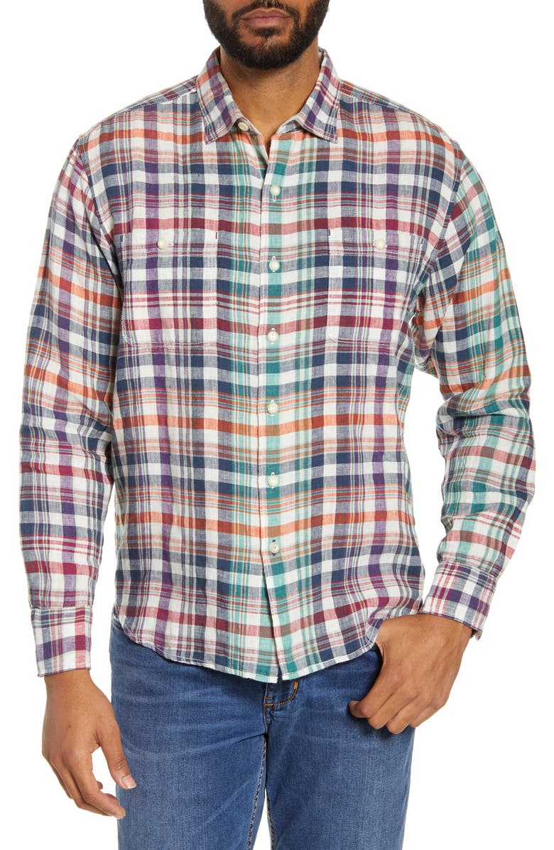 TOMMY BAHAMA Summer Night Plaid Button-Up Linen Shirt, Main, color, 400