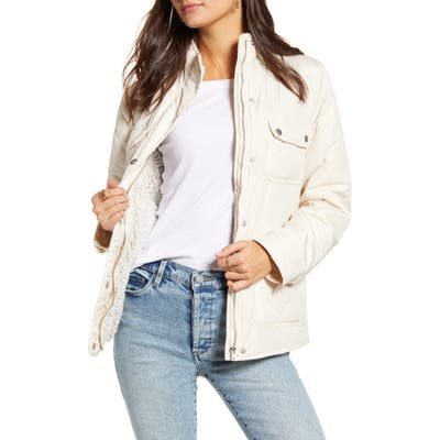 Thread & Supply Fleece Lined Quilted Utility Jacket, Ivory