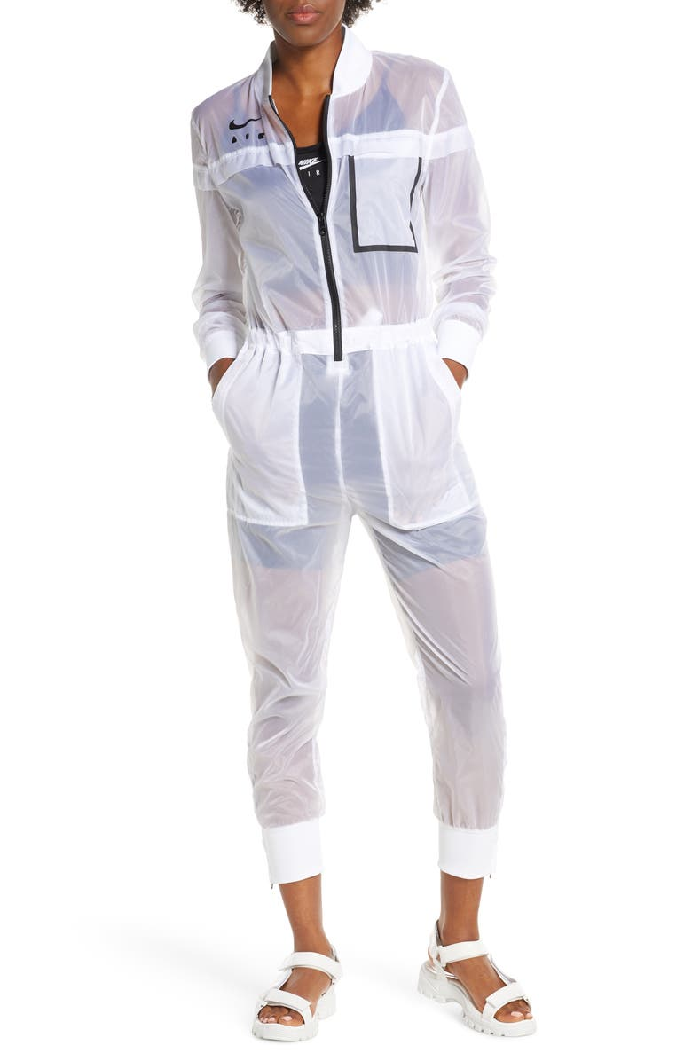 NIKE Sportswear Air Nylon Jumpsuit, Main, color, WHITE/BLACK