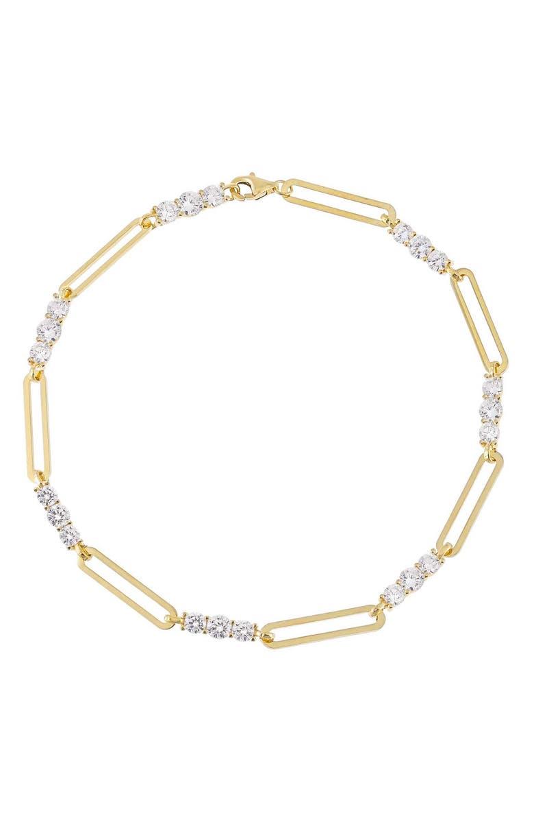 Adina's Jewels Cubic Zirconia Paper Clip Anklet | Nordstrom