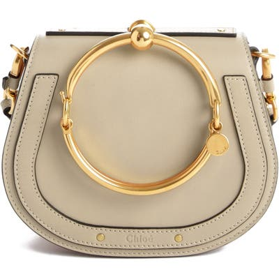 Chloe Small Nile Bracelet Leather Crossbody Bag - Grey